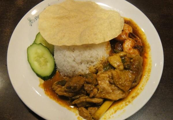 R15. Jasmine Rice w/ Curry Chicken & Sambal Prawns ($12.50)