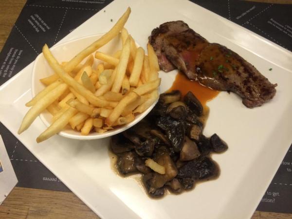 Truffle Fries, Mushroom Ragout, Striploin Steak