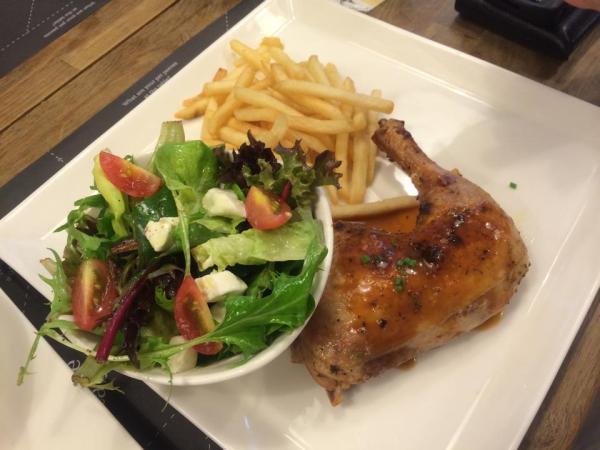 Tomato & Mozzarella Salad, Truffle Fries, Cajun Style Marinated Whole Chicken Leg