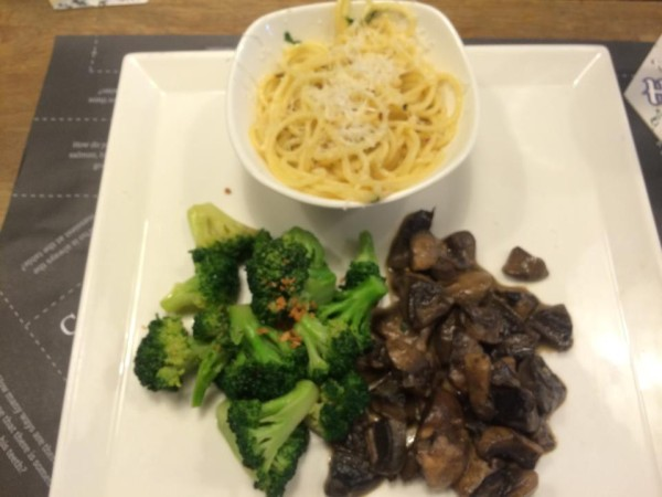 Spicy Spaghetti Aglio Olio,  Mushroom Ragout, Charred Broccoli with Garlic Crisps