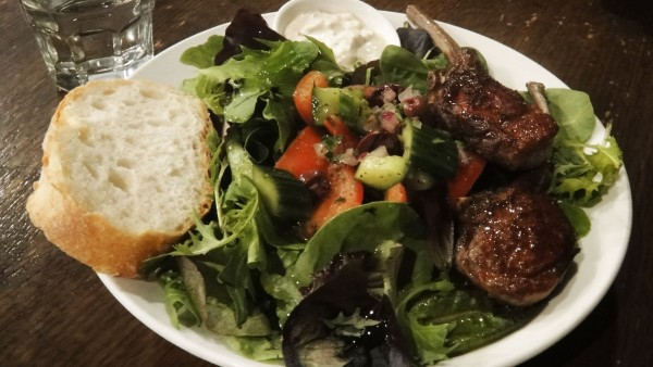 Spiced Lamb Cutlets and Greek Village Salad ($15.90)