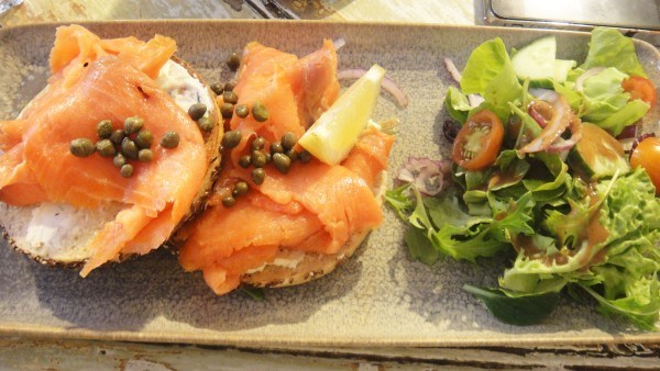 Smoked Salmon - Open Bagel ($13)