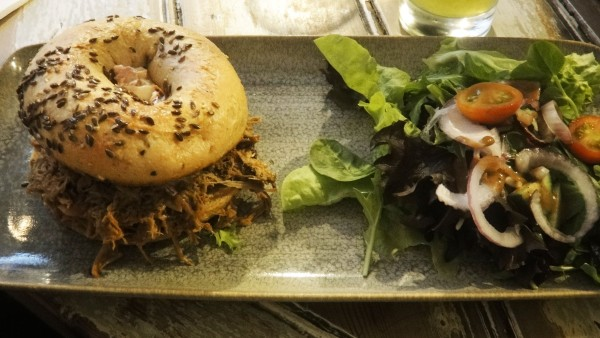 Slow Cooked BBQ Pulled Pork - Closed Bagel ($15)