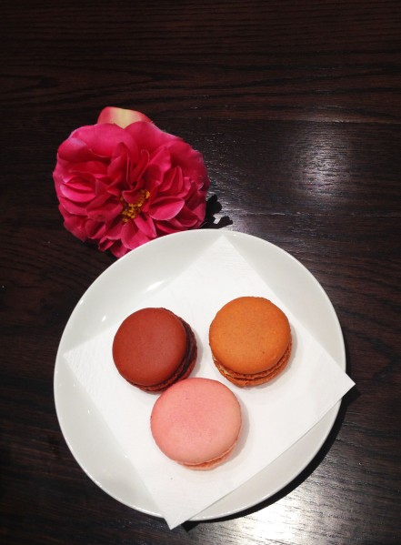 Macarons ($3 each) from top left - clockwise direction: Valrhona Caraibe Chocolate, Salted Caramel, Rose Delight