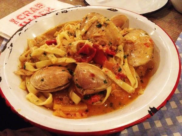 Crab & Clam Fettuccini ($24)