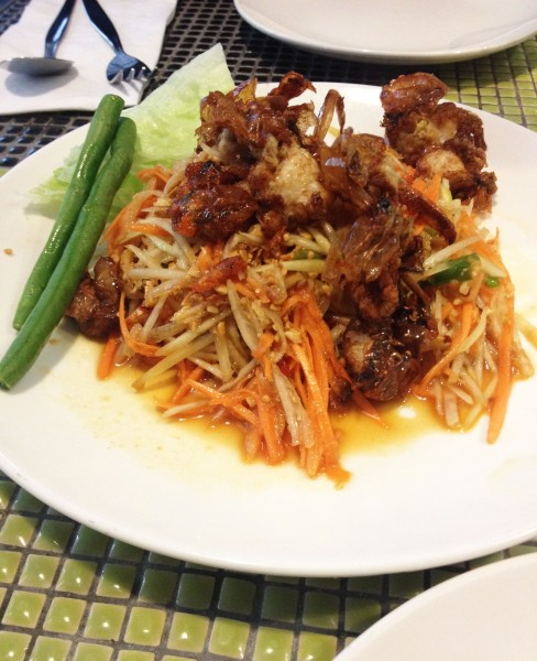 Crispy Soft Shell Crab served w/ Papaya Salad ($16)